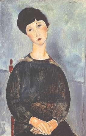 konfigurieren des Kunstdrucks in Wunschgröße Young Seated Girl With Brown Hair von Modigliani, Amedeo