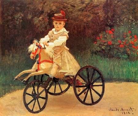 konfigurieren des Kunstdrucks in Wunschgröße Jean An His Wooden Horse 1872 von Monet, Claude