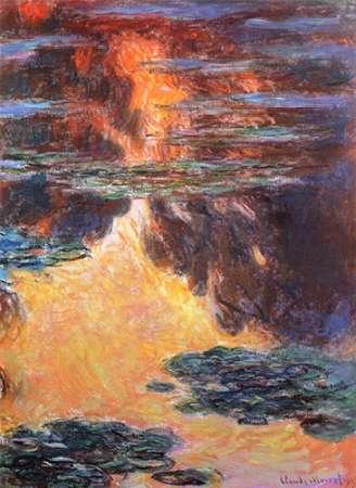 konfigurieren des Kunstdrucks in Wunschgröße Nympheas Sunset Effect 1907 von Monet, Claude