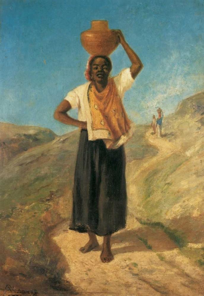 konfigurieren des Kunstdrucks in Wunschgröße Woman Carrying A Pitcher On Her Head St Thomas 1854 von Pissarro, Camille