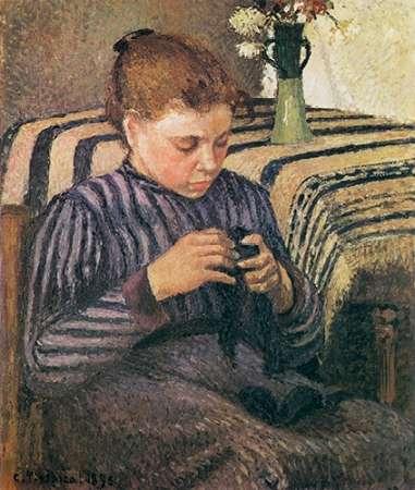 konfigurieren des Kunstdrucks in Wunschgröße Young Woman Mending 1895 von Pissarro, Camille
