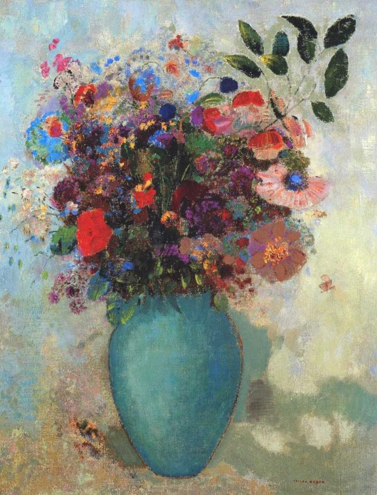 konfigurieren des Kunstdrucks in Wunschgröße Flowers In A Turquoise Vase von Redon, Odilion