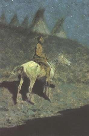 konfigurieren des Kunstdrucks in Wunschgröße Indian In The Moonlight von Remington, Frederic