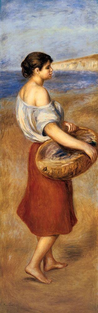 konfigurieren des Kunstdrucks in Wunschgröße Girl With A Basket Of Fish von Renoir, Pierre-Auguste