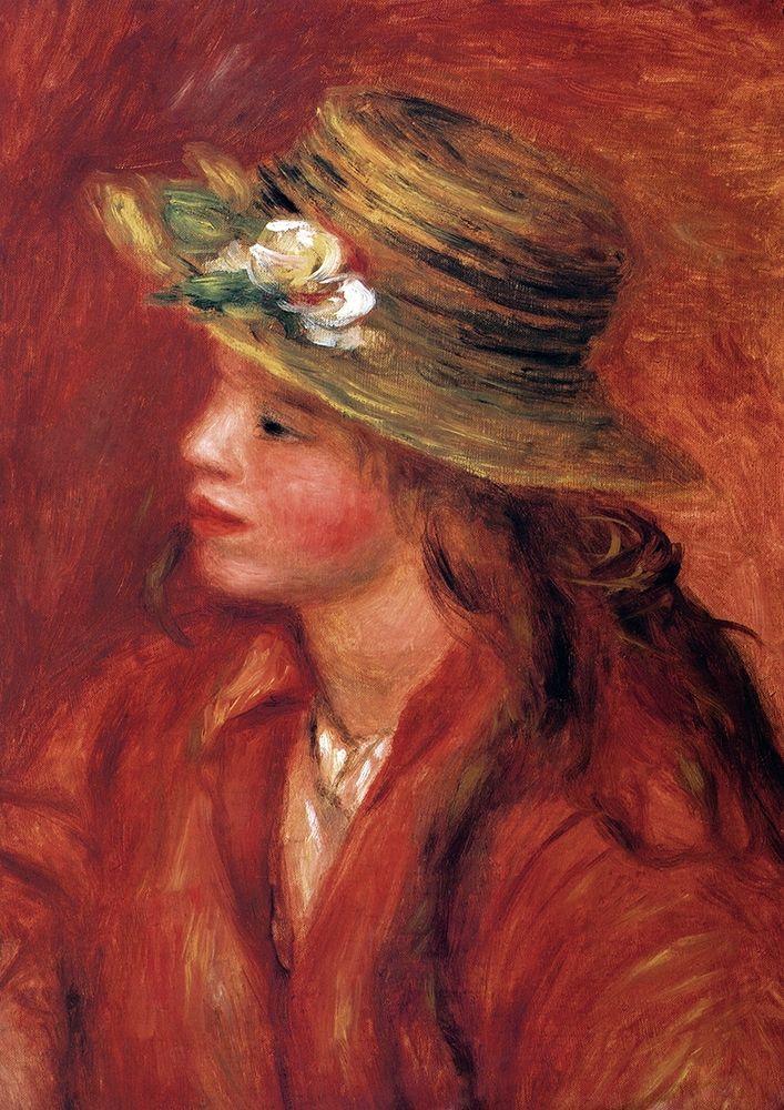 konfigurieren des Kunstdrucks in Wunschgröße Girl With Straw Hat von Renoir, Pierre-Auguste