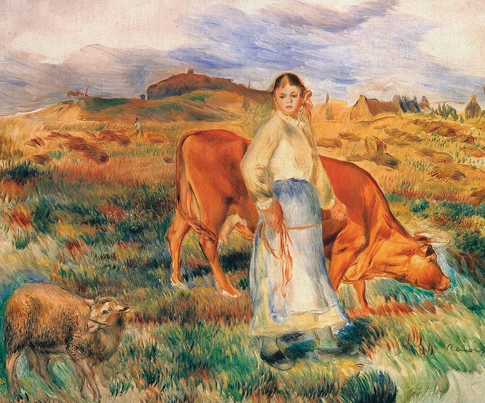 konfigurieren des Kunstdrucks in Wunschgröße Shepherdess With Cow And Ewe von Renoir, Pierre-Auguste