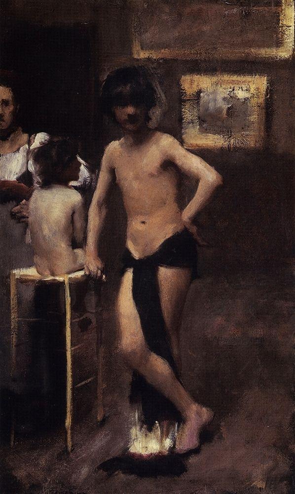 konfigurieren des Kunstdrucks in Wunschgröße Two Nude Boys and a Woman in a Studio Interior, 1878-79 von Sargent, John Singer