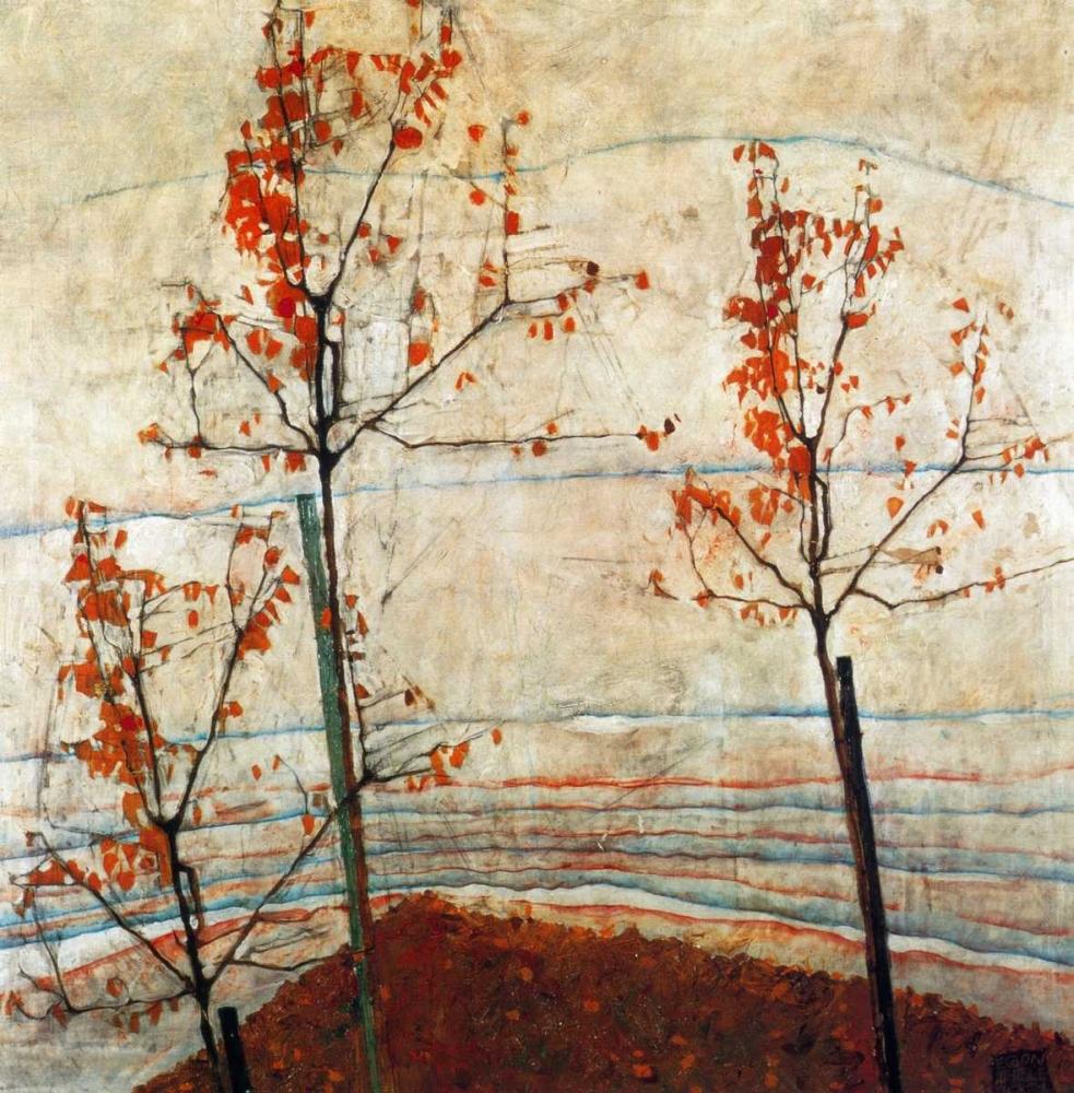 konfigurieren des Kunstdrucks in Wunschgröße Autumn Trees 1911 von Schiele, Egon