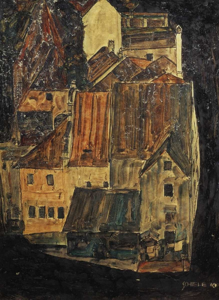 konfigurieren des Kunstdrucks in Wunschgröße City On The Blue River I 1910 von Schiele, Egon