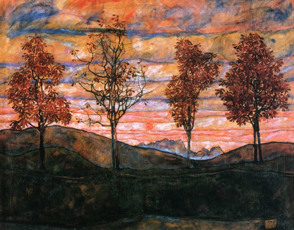 konfigurieren des Kunstdrucks in Wunschgröße Four Trees 1917 von Schiele, Egon