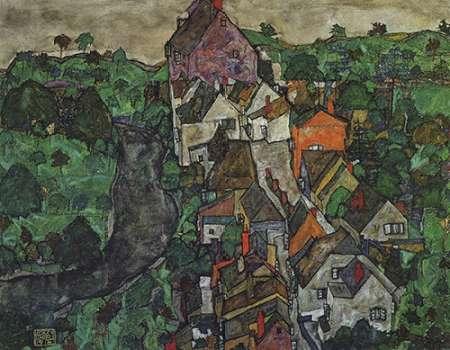 konfigurieren des Kunstdrucks in Wunschgröße KMapsau Landscape Town And River 1916 von Schiele, Egon