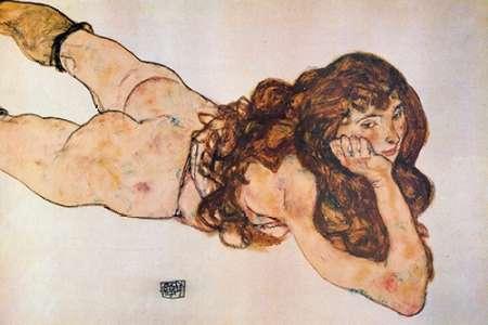 konfigurieren des Kunstdrucks in Wunschgröße Lying Nude 1917 von Schiele, Egon