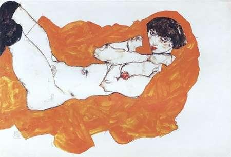 konfigurieren des Kunstdrucks in Wunschgröße Reclining Female Nude On Red Drape von Schiele, Egon