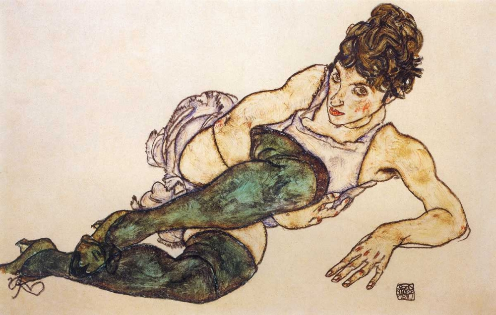 Reclining Woman With Green Stockings von Schiele, Egon <br> max. 81 x 51cm <br> Preis: ab 10€