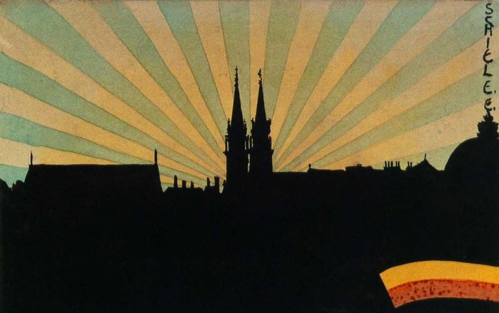 Silhouette Of Klosterneuburg 1906 von Schiele, Egon <br> max. 71 x 46cm <br> Preis: ab 10€