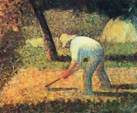 konfigurieren des Kunstdrucks in Wunschgröße Farm Laborer With Hoe von Seurat, Georges