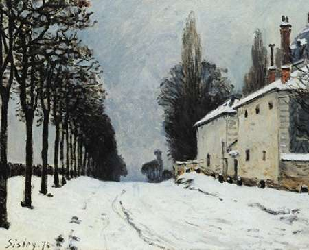 konfigurieren des Kunstdrucks in Wunschgröße Snow On The Road Louveciennes von Sisley, Alfred