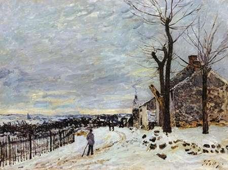 konfigurieren des Kunstdrucks in Wunschgröße Snowy Weather At Veneux Nadon von Sisley, Alfred
