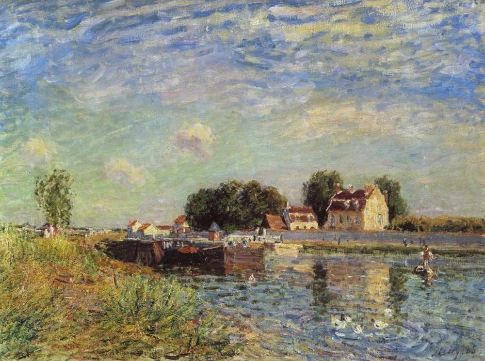 konfigurieren des Kunstdrucks in Wunschgröße Le canal du Loing a Saint-Mammes von Sisley, Alfred