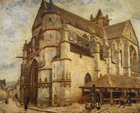 konfigurieren des Kunstdrucks in Wunschgröße The Church At Moret Icy Weather von Sisley, Alfred