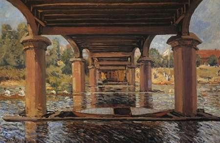 konfigurieren des Kunstdrucks in Wunschgröße Under The Bridge At Hampton Court von Sisley, Alfred