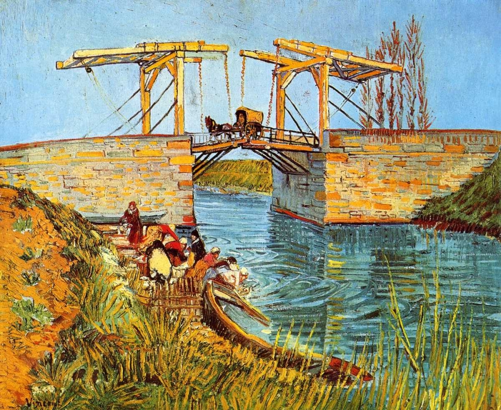 konfigurieren des Kunstdrucks in Wunschgröße Langlois Bridge Women Washing von Van Gogh, Vincent