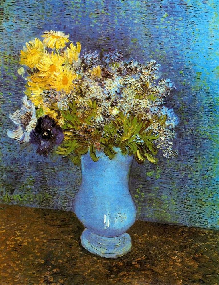 konfigurieren des Kunstdrucks in Wunschgröße Lilacs Daisies Anemones von Van Gogh, Vincent