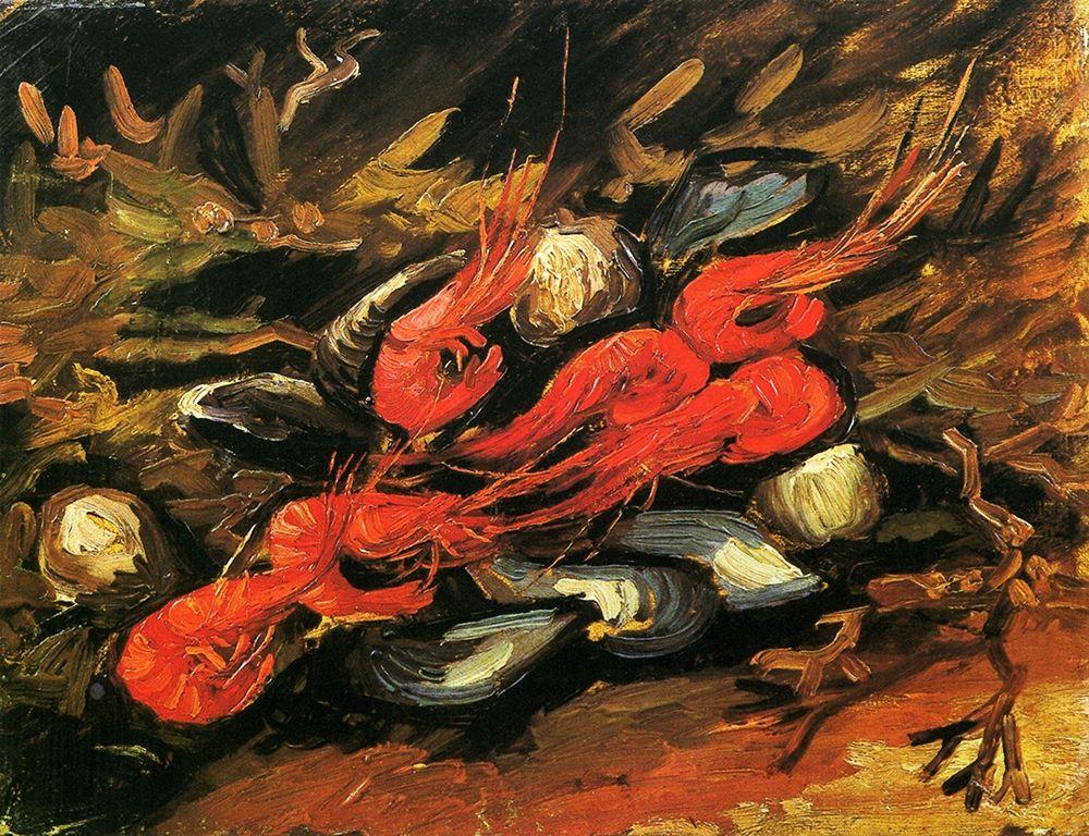 konfigurieren des Kunstdrucks in Wunschgröße Mussels Shrimp von Van Gogh, Vincent