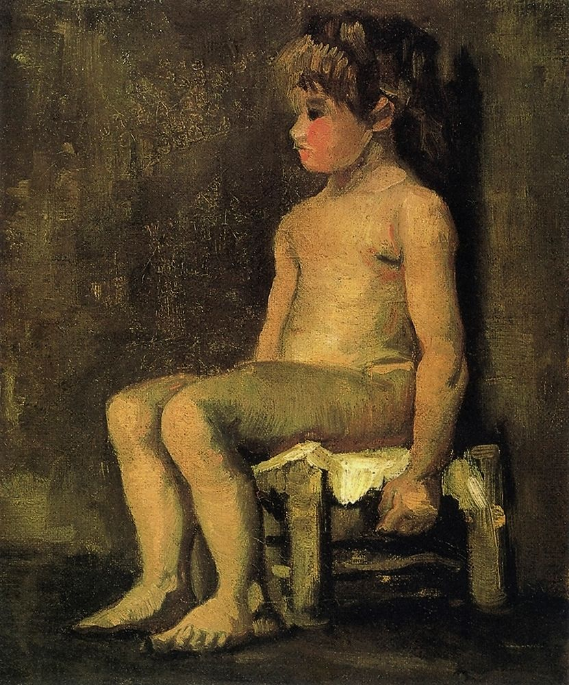 konfigurieren des Kunstdrucks in Wunschgröße Nude Study Of A Little Girl Seated 1886 von Van Gogh, Vincent