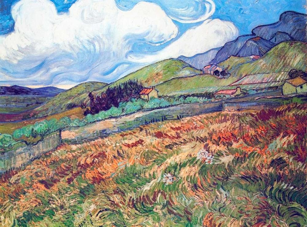 konfigurieren des Kunstdrucks in Wunschgröße Oat Field With Mountains von Van Gogh, Vincent