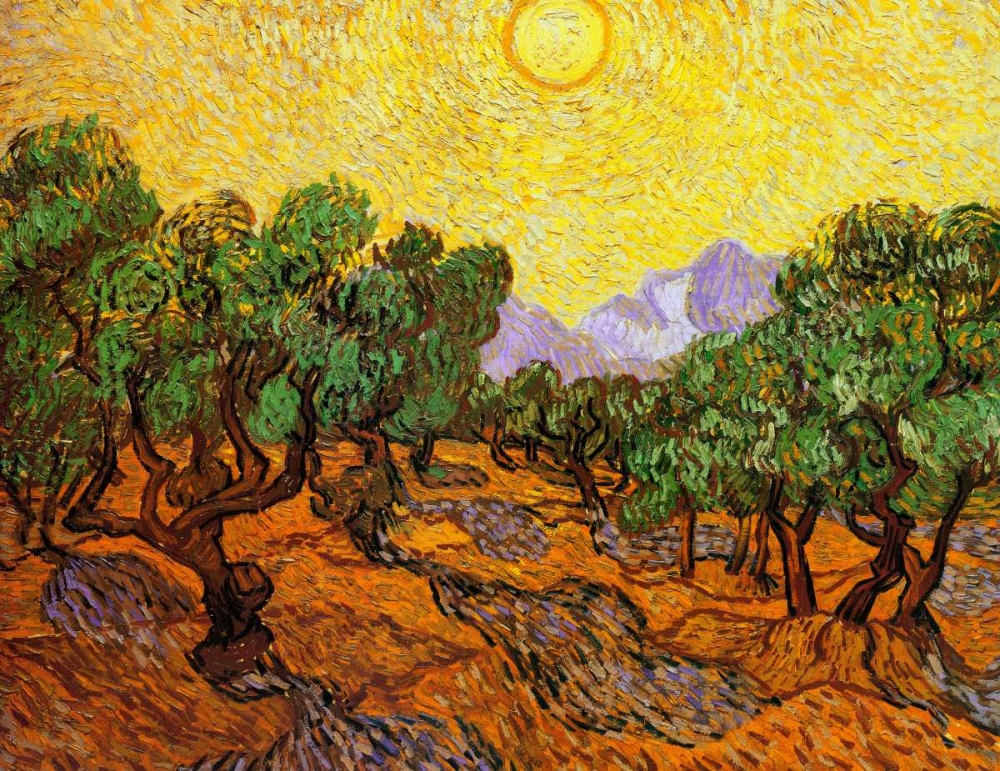 Olive Trees With Yellow Sky And Sun von Van Gogh, Vincent <br> max. 152 x 117cm <br> Preis: ab 10€