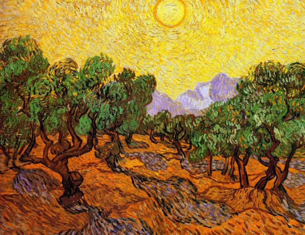 konfigurieren des Kunstdrucks in Wunschgröße Olive Trees With Yellow Sky And Sun von Van Gogh, Vincent