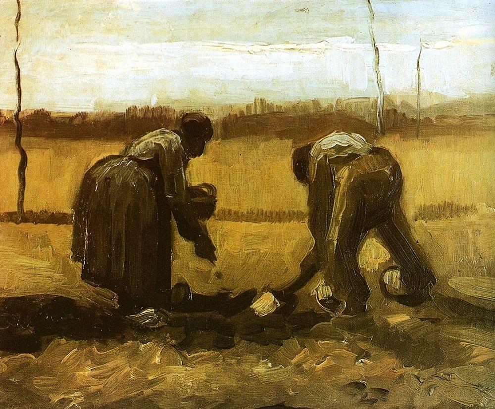 konfigurieren des Kunstdrucks in Wunschgröße Peasants Planting Potatoes von Van Gogh, Vincent