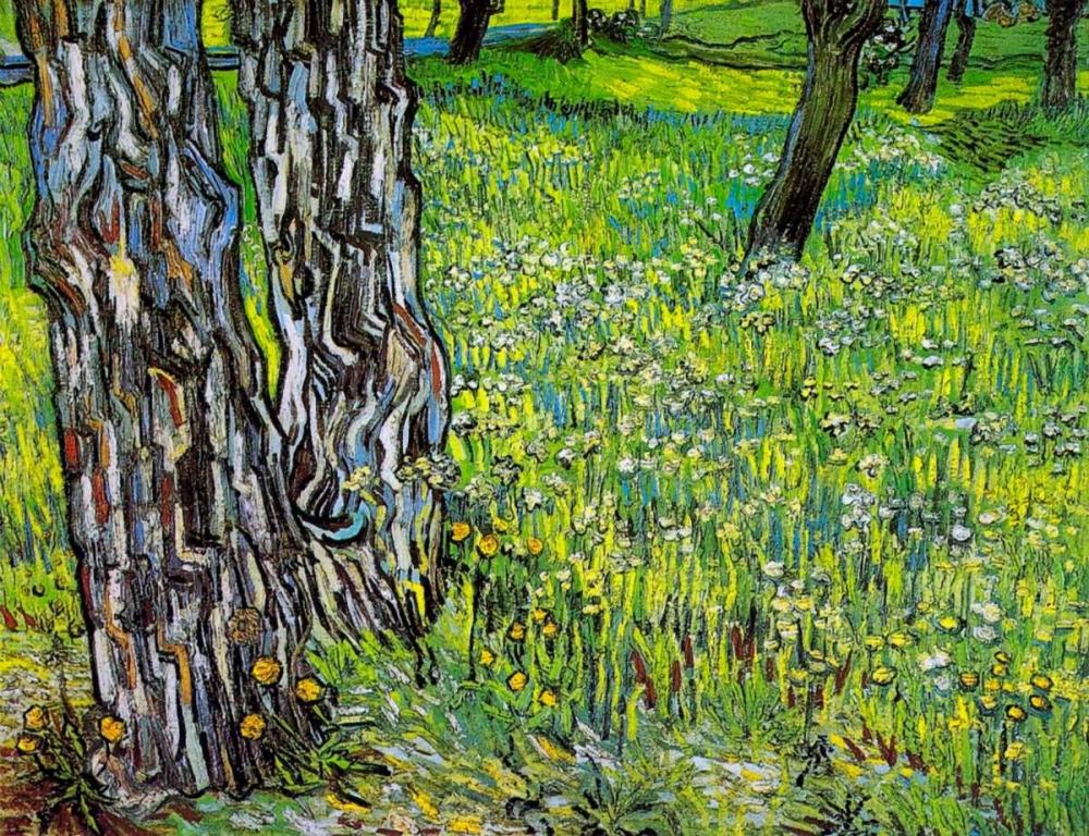 konfigurieren des Kunstdrucks in Wunschgröße Pine Trees And Dandelions In The Garden Of Saint Paul Hospital 1890 von Van Gogh, Vincent