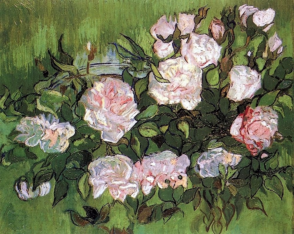konfigurieren des Kunstdrucks in Wunschgröße Pink Roses von Van Gogh, Vincent