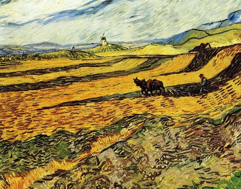 konfigurieren des Kunstdrucks in Wunschgröße Ploughman And Mill von Van Gogh, Vincent