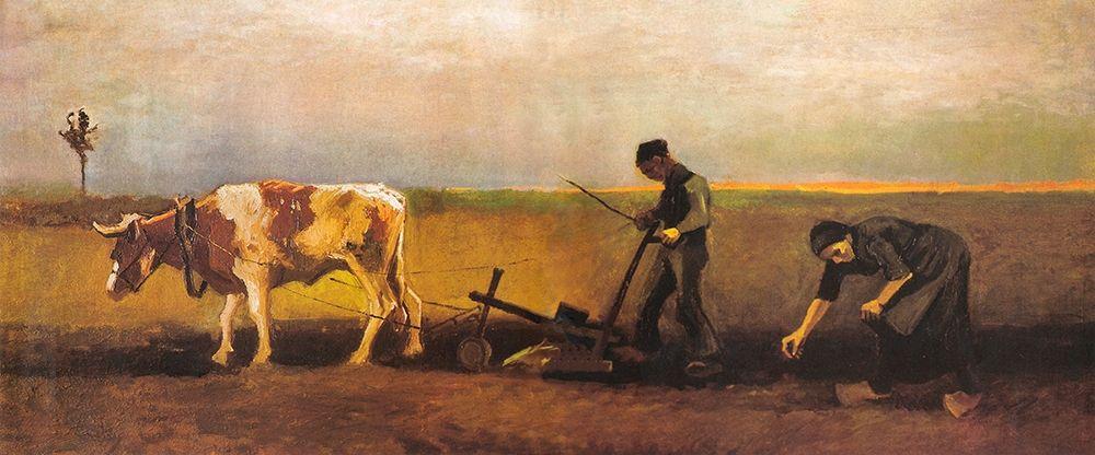 konfigurieren des Kunstdrucks in Wunschgröße Potato Planting von Van Gogh, Vincent
