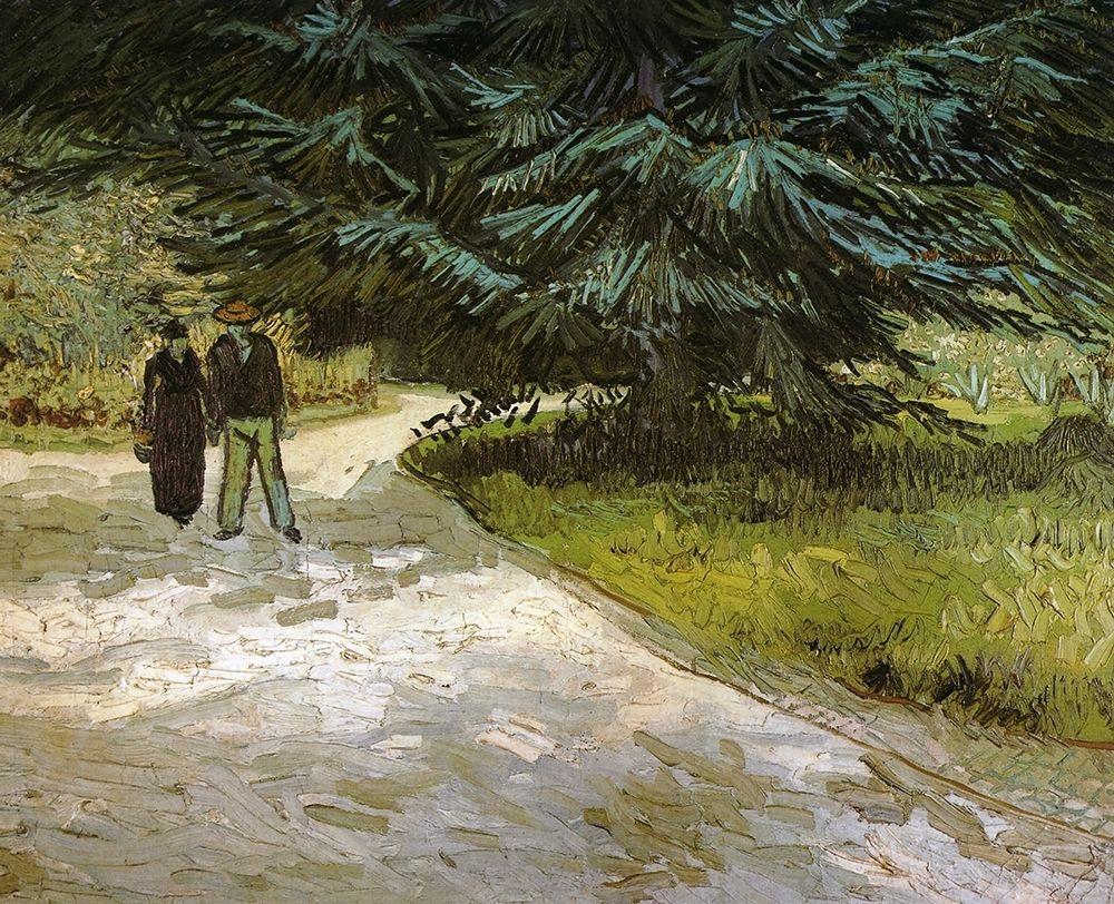 konfigurieren des Kunstdrucks in Wunschgröße Public Garden With Couple And Blue Fir von Van Gogh, Vincent