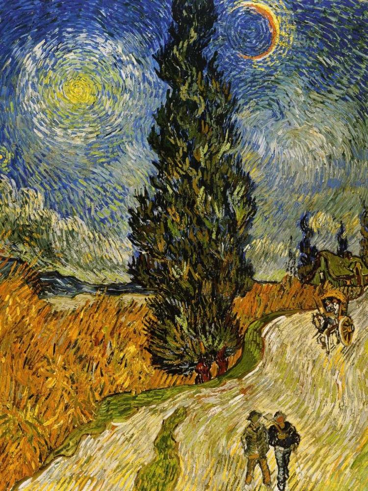 konfigurieren des Kunstdrucks in Wunschgröße Road Cypress And Star von Van Gogh, Vincent