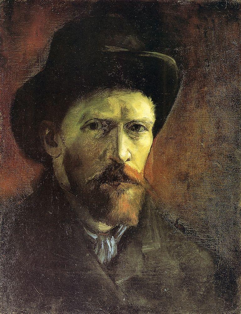 konfigurieren des Kunstdrucks in Wunschgröße Self Portrait Dark Felt Hat von Van Gogh, Vincent