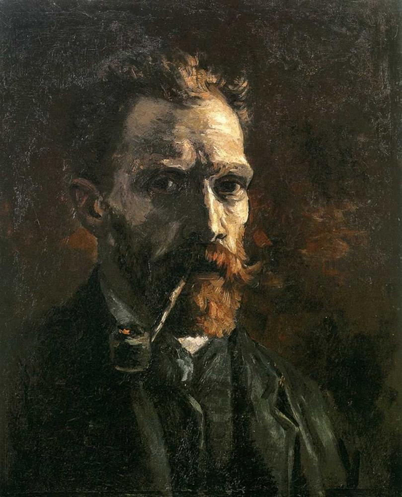 konfigurieren des Kunstdrucks in Wunschgröße Self Portrait With Pipe von Van Gogh, Vincent