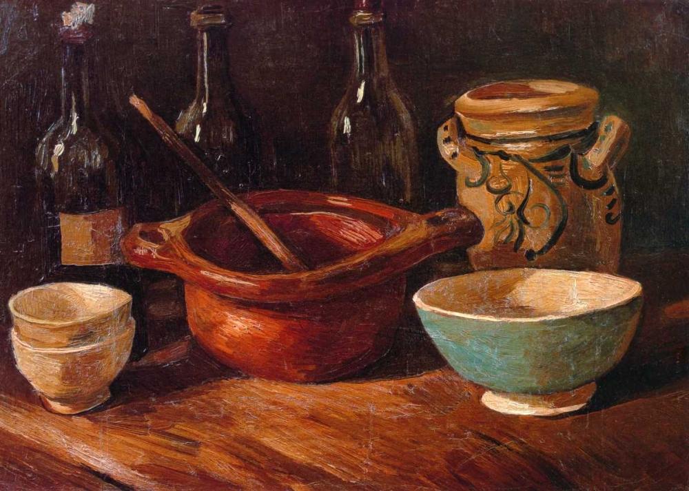 konfigurieren des Kunstdrucks in Wunschgröße Still Life Earthenware And Bottles von Van Gogh, Vincent
