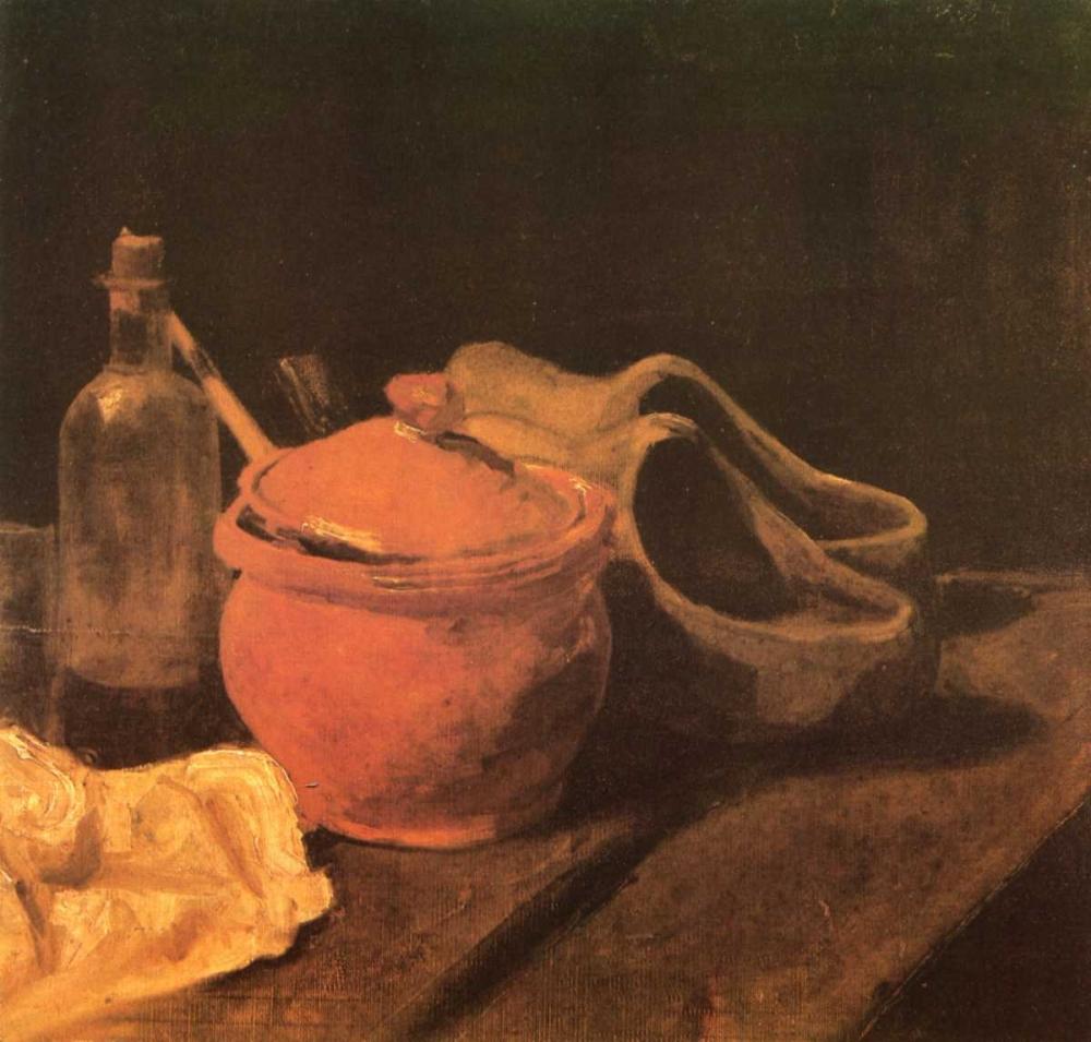 konfigurieren des Kunstdrucks in Wunschgröße Still Life Earthenware Bottle And Clogs von Van Gogh, Vincent