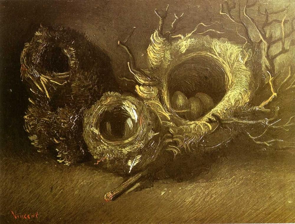 konfigurieren des Kunstdrucks in Wunschgröße Still Life With Three Birds Nests von Van Gogh, Vincent