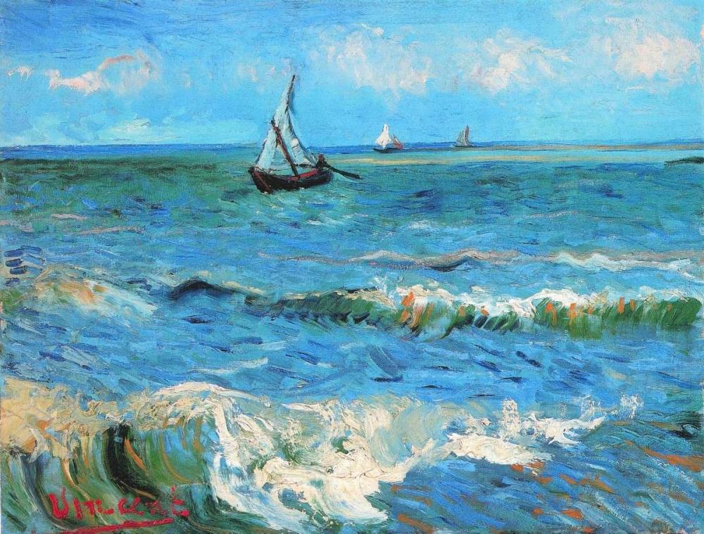 konfigurieren des Kunstdrucks in Wunschgröße The Sea At Les Saintes Maries De La Mer von Van Gogh, Vincent