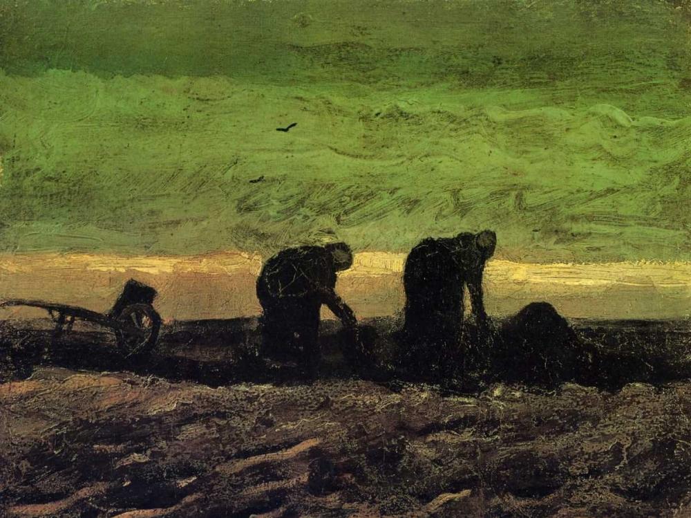konfigurieren des Kunstdrucks in Wunschgröße Two Peasant Women In Peat Field von Van Gogh, Vincent