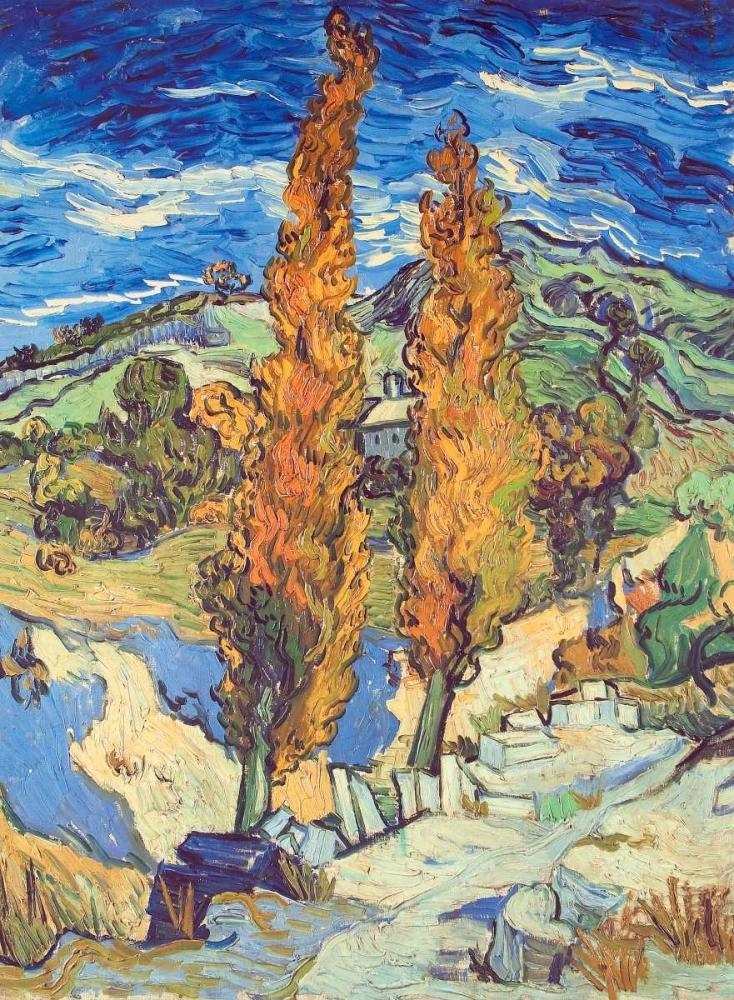 konfigurieren des Kunstdrucks in Wunschgröße Two Poplars On Road von Van Gogh, Vincent