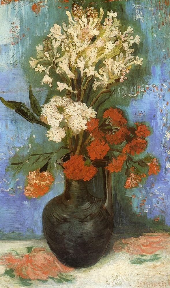 konfigurieren des Kunstdrucks in Wunschgröße Vase Carnations And Other Flowers von Van Gogh, Vincent