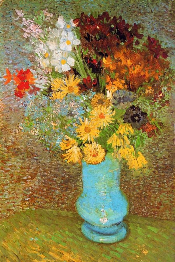 konfigurieren des Kunstdrucks in Wunschgröße Vase Daisies And Anemones von Van Gogh, Vincent