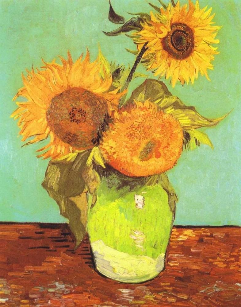 konfigurieren des Kunstdrucks in Wunschgröße Vase With Three Sunflowers von Van Gogh, Vincent